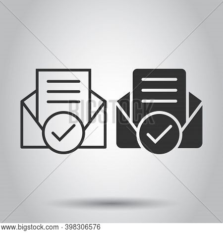 Envelope With Confirmed Document Icon In Flat Style. Verify Vector Illustration On White Isolated Ba