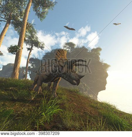 Triceratops In The Coast And A Pterodactyl Flying . This Is A 3d Render Illustration .