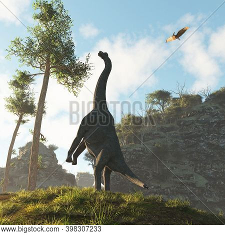 Brachiosaurus Dinosaur In The Valley Eating And A Pterodactyl Flying Above . This Is A 3d Render Ill