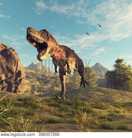 Tyrannosaurus Rex Running In The Valley And Two Pterodactyls Flying In The Sky . This Is A 3d Render
