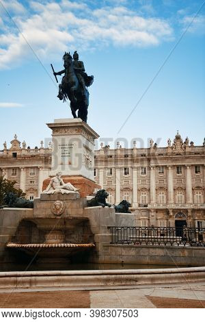 Felipe IV on horseback at Royal Palace  closeup view in Madrid Spain.