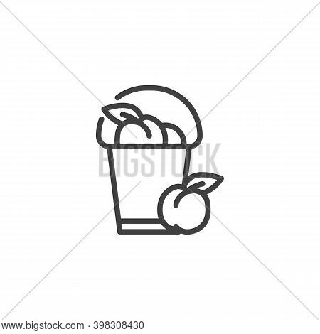 Peach Basket Line Icon. Linear Style Sign For Mobile Concept And Web Design. Peach Harvest Outline V