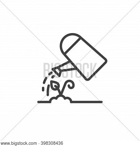 Plant Watering Can Line Icon. Linear Style Sign For Mobile Concept And Web Design. Watering Plant Ou