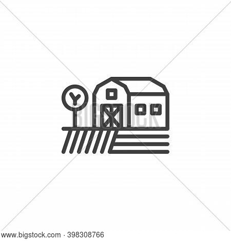 Farmland Barn Line Icon. Linear Style Sign For Mobile Concept And Web Design. Agriculture Field And