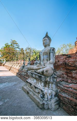 Buddha Statue At Wat Yai Chai Mongkhon In Ayutthaya Province, Thailand