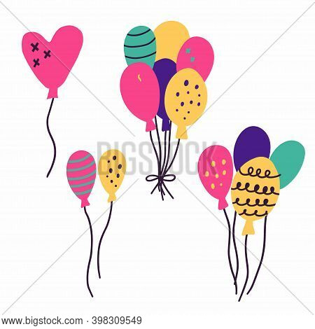 Doodle Balloon Set. Collection In Primitive Minimalist Style, Festive Air Balloons, Party Decor, Cel