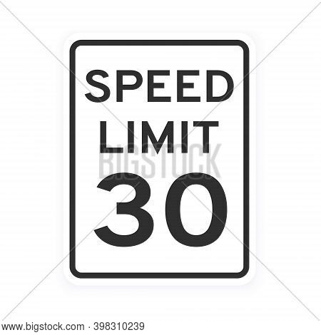 Speed Limit 30 Road Traffic Icon Sign Flat Style Design Vector Illustration Isolated On White Backgr