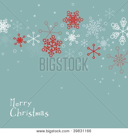 Retro simple Christmas card with white snowflakes on blue background