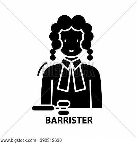Barrister Icon, Black Vector Sign With Editable Strokes, Concept Illustration