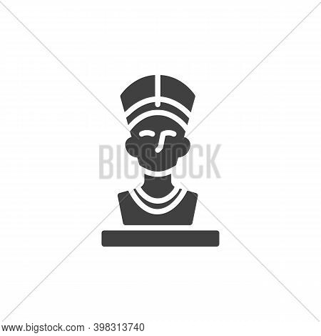 Nefertiti Queen Vector Icon. Filled Flat Sign For Mobile Concept And Web Design. Ancient Egyptian Qu