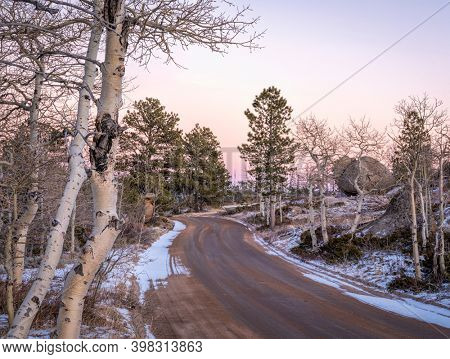 forest road in Vedauwoo Recreation Area, Wyoming,  known to the Arapaho Indians as Land of the Earthborn Spirit, winter scenery
