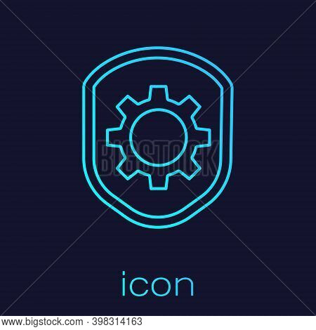Turquoise Line Shield With Settings Gear Icon Isolated On Blue Background. Adjusting, Service, Maint