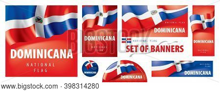 Vector Set Of Banners With The National Flag Of The Dominicana