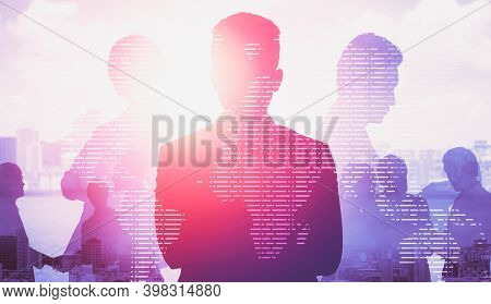 Abstract Image Of Many Business People Together In Group On Background Of City View With Office Buil