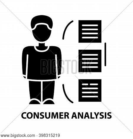 Consumer Behaviour Analysis Icon, Black Vector Sign With Editable Strokes, Concept Illustration