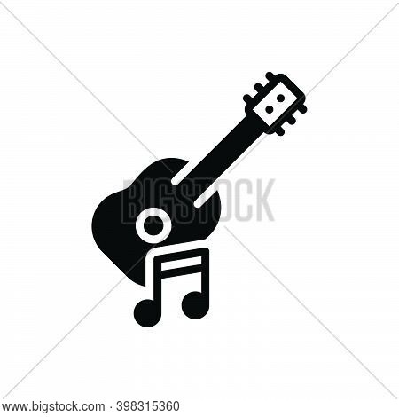 Black Solid Icon For Musical Guitar Acoustic Music Instrument Performance Song Tone Musician Melody