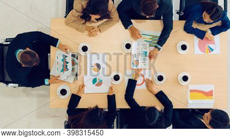 Business People Group Meeting Shot From Top View In Office . Profession Businesswomen, Businessmen A