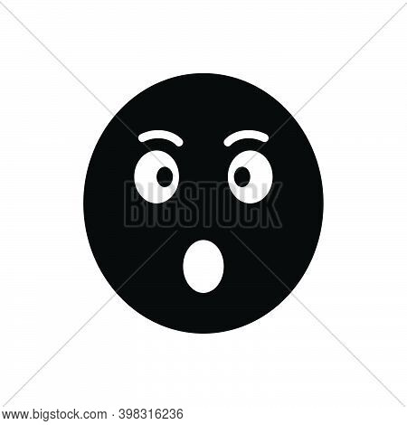Black Solid Icon For Surprised Astonished Bewildered Dazed Shocked Startled Stunned Amazed Open-mout