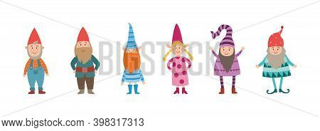 Funny Little Elves Or Dwarfs Standing In Row, Flat Vector Illustration Isolated.