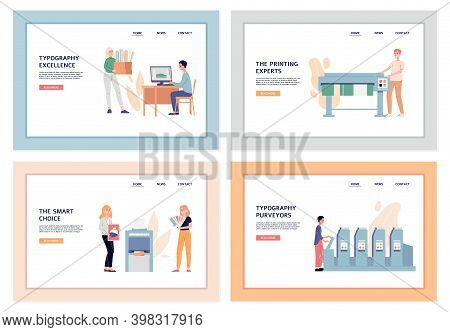 Typography And Polygraphy Service Web Banners Set Cartoon Vector Illustration.