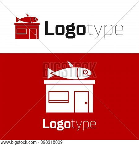 Red Seafood Store Icon Isolated On White Background. Facade Of Seafood Market. Logo Design Template