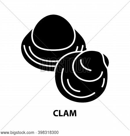 Clam Icon, Black Vector Sign With Editable Strokes, Concept Illustration