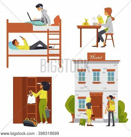 Set Of Hostel Or Dorm Furnishing And Tourists Flat Vector Illustration Isolated.