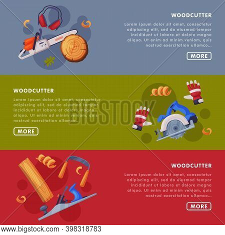 Timber Felling And Woodcutting Industry With Saw Web Page Or Website Template Vector Illustration