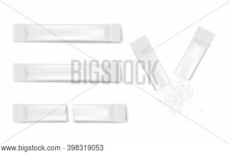 White Stick Pack Mockup Template Set - Realistic Blank Sugar Packets