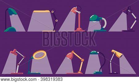 Colorful Lit Desk Lamp Set On Dark Background. Different Types Of Lights
