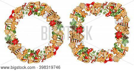 Vector Festive Frame And Wreath Isolated On White Background. Gingerbreads And New Year And Christma
