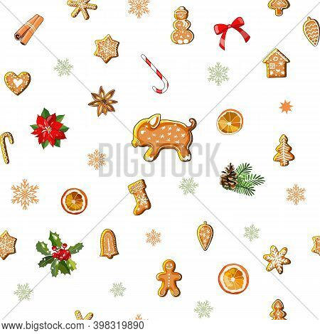 Endless Texture With Traditional Christmas Symbols. Seamless Vector Pattern For Your Festive Design,