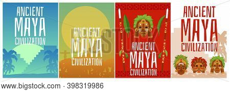 Set Of Vector Banners With Traditional Symbols Of Ancient Maya Civilization.