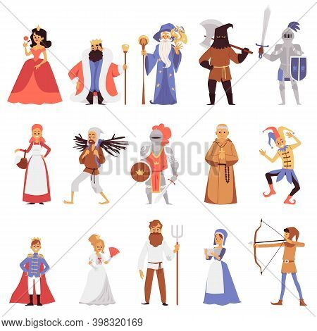 Set Of Noble And Citizens Of Medieval Town, Flat Vector Illustration Isolated.
