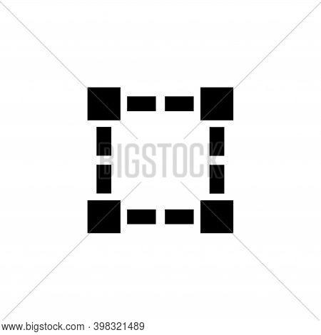 Schematic Graphic Wireframe Square Shape. Flat Vector Icon Illustration. Simple Black Symbol On Whit