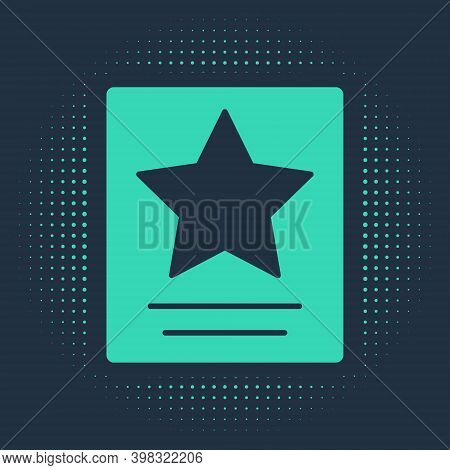 Green Hollywood Walk Of Fame Star On Celebrity Boulevard Icon Isolated On Blue Background. Famous Si