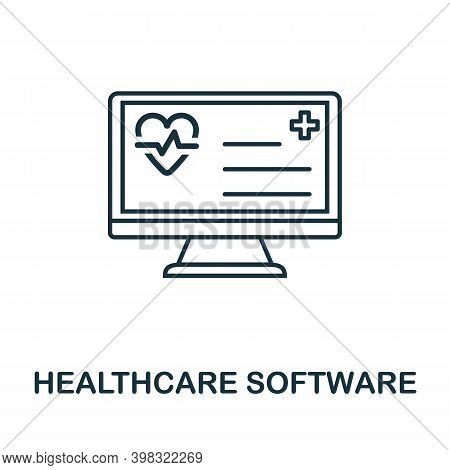 Healthcare Software Icon. Line Style Element From Digital Healthcare Collection. Thin Healthcare Sof