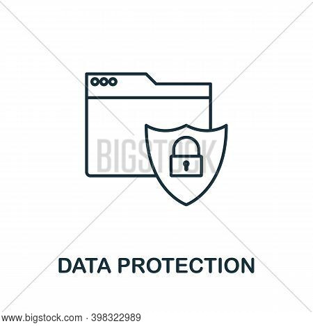 Data Protection Icon. Line Style Element From Gdpr Collection. Thin Data Protection Icon For Templat