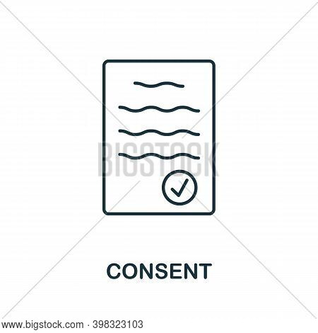 Consent Icon. Line Style Element From Gdpr Collection. Thin Consent Icon For Templates, Infographics