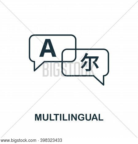 Multilingual Icon. Line Style Element From Life Skills Collection. Thin Multilingual Icon For Templa