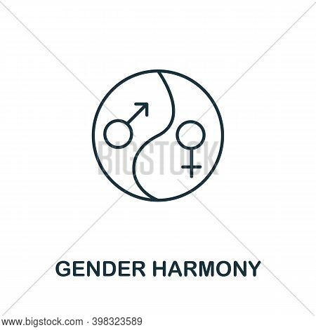 Gender Harmony Icon. Line Style Element From Life Skills Collection. Thin Gender Harmony Icon For Te