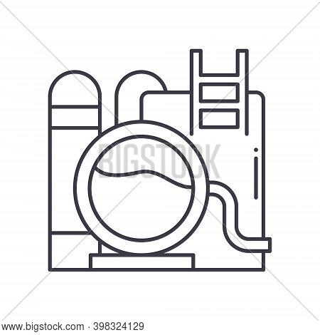 Oil Refinery Icon, Linear Isolated Illustration, Thin Line Vector, Web Design Sign, Outline Concept