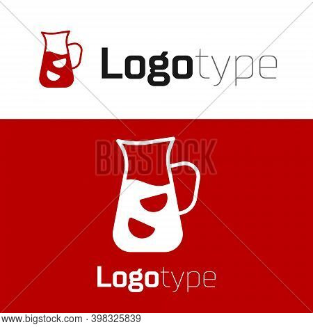 Red Sangria Icon Isolated On White Background. Traditional Spanish Drink. Logo Design Template Eleme
