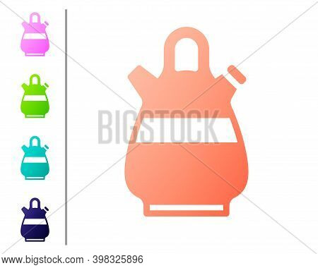 Coral Sangria Pitcher Icon Isolated On White Background. Traditional Spanish Drink. Set Color Icons.