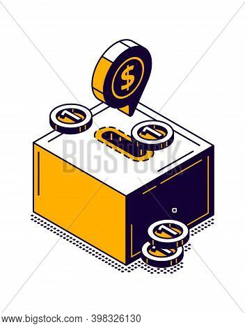 Moneybox Icon With Gold Coin Isometric Vector Illustration
