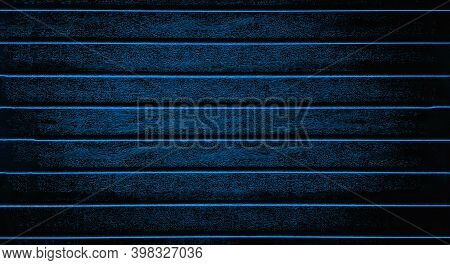 Blue Background Texture The Fence, Siding. Plastic Fence Blue Striped. Web Panorama Banner With Copy
