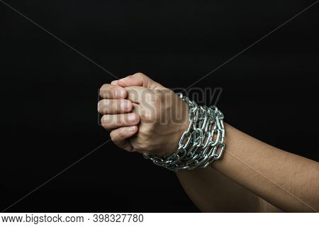 Slave Woman She Was Hand Tethered Interpreter Tied Up With Steel Chain Black Background. Freedom Spe
