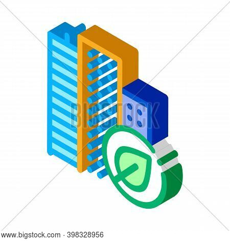 Eco Energy Plant Atom Icon Vector. Isometric Eco Energy Plant Atom Sign. Color Isolated Symbol Illus