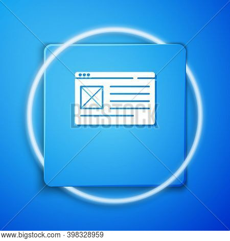 White Browser Window Icon Isolated On Blue Background. Blue Square Button. Vector
