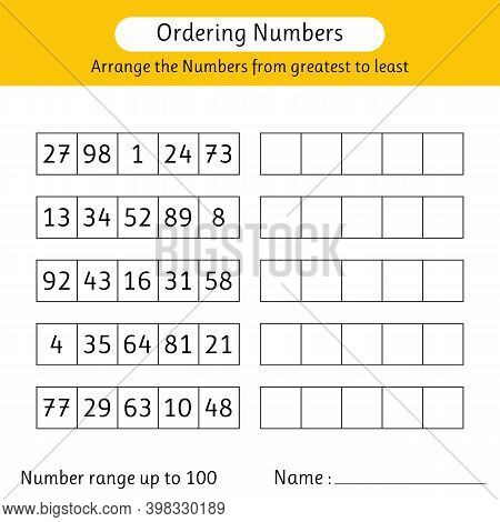 Ordering Numbers Worksheet. Arrange The Numbers From Greatest To Least. Math. Number Range Up To 100